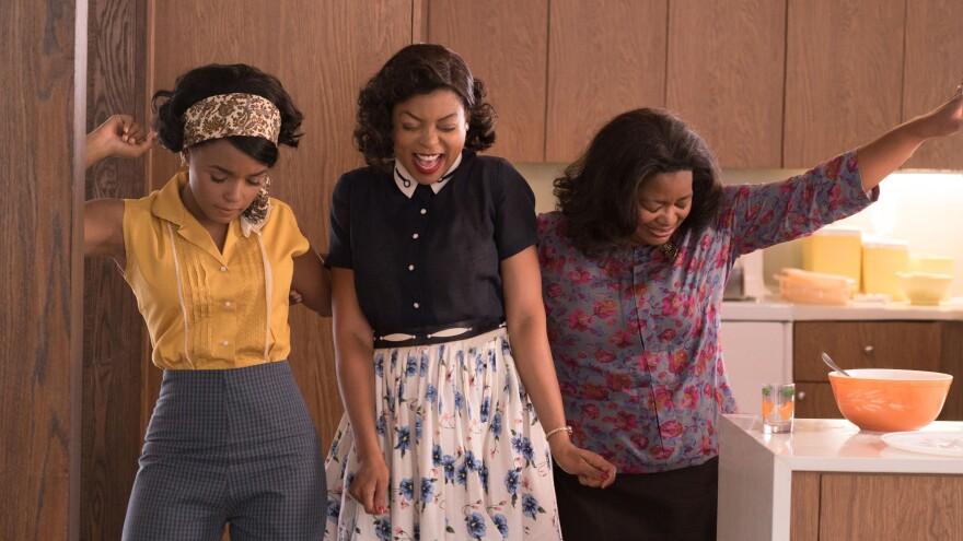 Mary Jackson (Janelle Monae, left), Katherine Johnson (Taraji P. Henson) and Dorothy Vaughan (Octavia Spencer) in <em>Hidden Figures.</em>