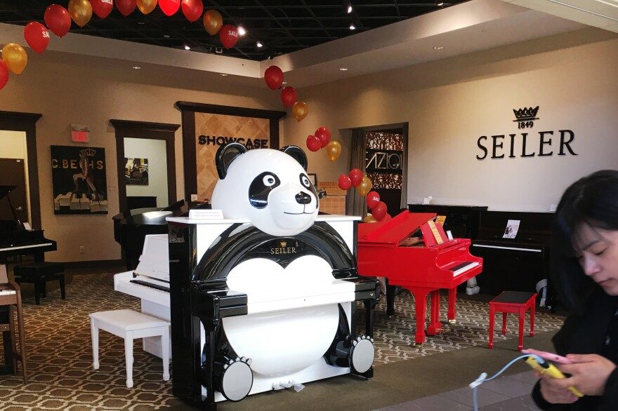 A piano showroom at Aberdeen Centre, a shopping mall in Richmond, a Vancouver suburb. More than half of Richmond's population is Chinese.