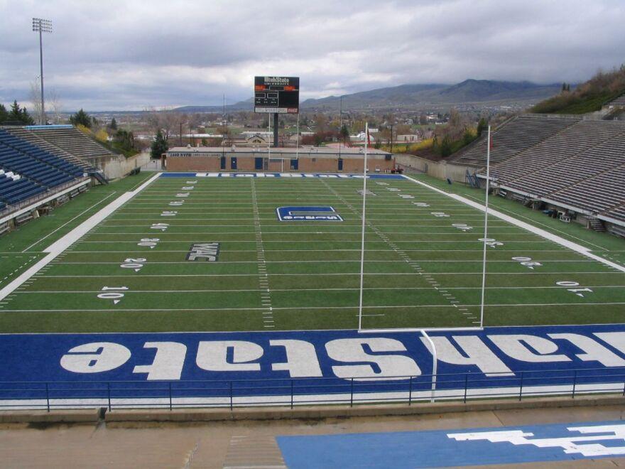A photo of Romney Stadium at the Utah State University.