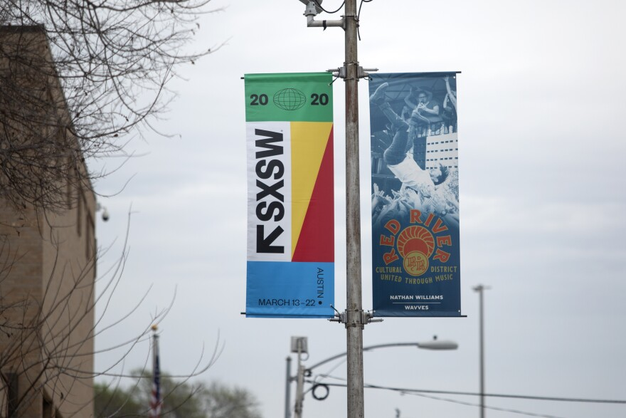 A South by Southwest sign in the Red River Cultural District.