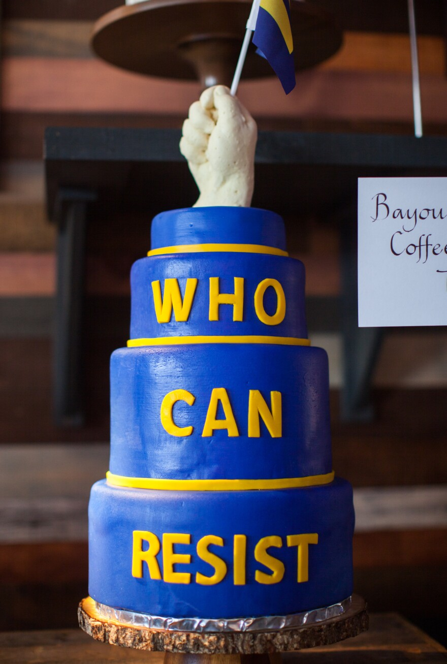 """This defiant creation, by Tressa Wiles of Bayou Bakery, features a fist gripping one of the Human Rights Campaign's """"equality flags."""""""