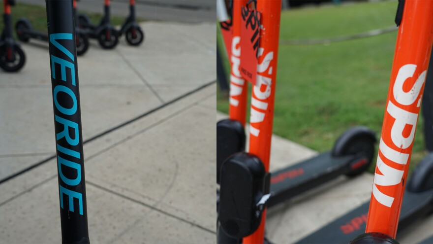 """Two different pictures are presented side by side. On the left is the handlebar of an electric scooter. It has the words, """"Veoride,"""" printed vertically on it. Then, on the right, are three electric scooters side by side. They have """"spin"""" printed vertically on them."""
