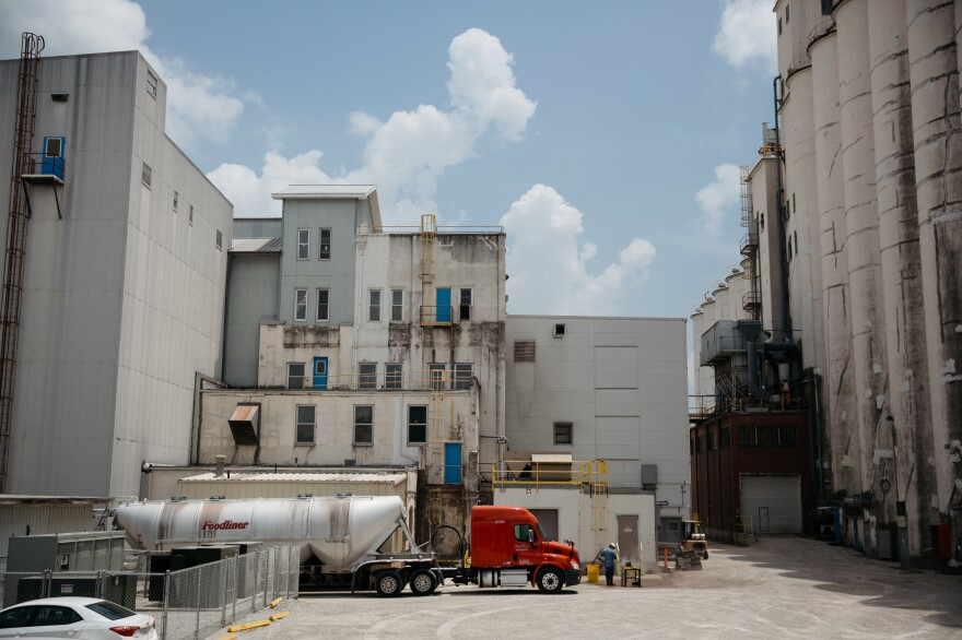 The industrial complex in Carthage where many Latinx residents work is a half-mile walk from the town square.