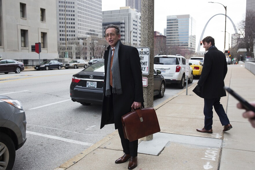 Attorney Al Watkins speaks with reporters outside the Carnahan Courthouse in downtown St. Louis following a hearing. March 26, 2018.