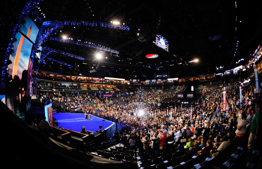 A general view of the start of Day 1 of the Democratic National Convention at Time Warner Cable Arena on Tuesday.