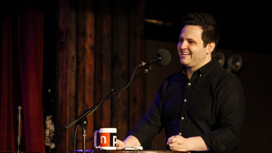 Magician Derek DelGaudio appears on Ask Me Another at the Bell House in Brooklyn, New York.