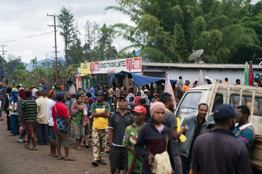 Betel nut and other goods are sold in the bustling morning market in Goroka, the capital of the Eastern Highlands province of Papua New Guinea.