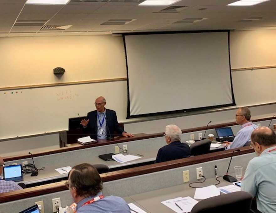 On June 24, 2019 Ameren CEO Warner Baxter addresses the judges of this year's Ameren Accelerator, a 12-week mentorship program that will kick off in August.