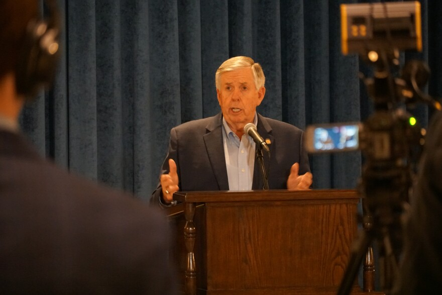 Gov. Mike Parson holds his first in-person press briefing in weeks on Friday to provide an update on his extended statewide stay-at-home order and recovery plan.