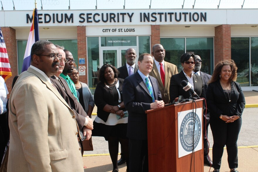 Mayor Francis Slay, along with officials from his administration and non-profit partners, announces new resources targeted at inmates awaiting trial at the Medium Security Institution on Sept. 8, 2015.
