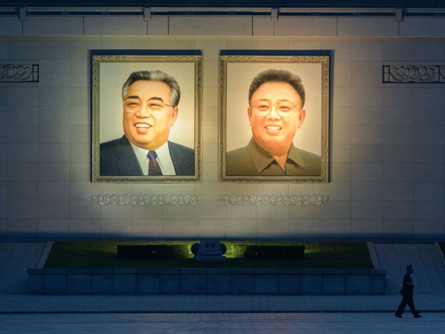 The portraits of late North Korean leaders Kim Il Sung (left) and Kim Jong Il are displayed in Kim Il Sung square in central Pyongyang. A succession of rulers have held talks with U.S. officials.