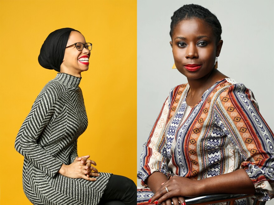 Makkah Ali (left) and Ikhlas Saleem created the podcast <em>Identity Politics</em>, on which they talk about their experiences as black women, as Muslims and as millennials in America.