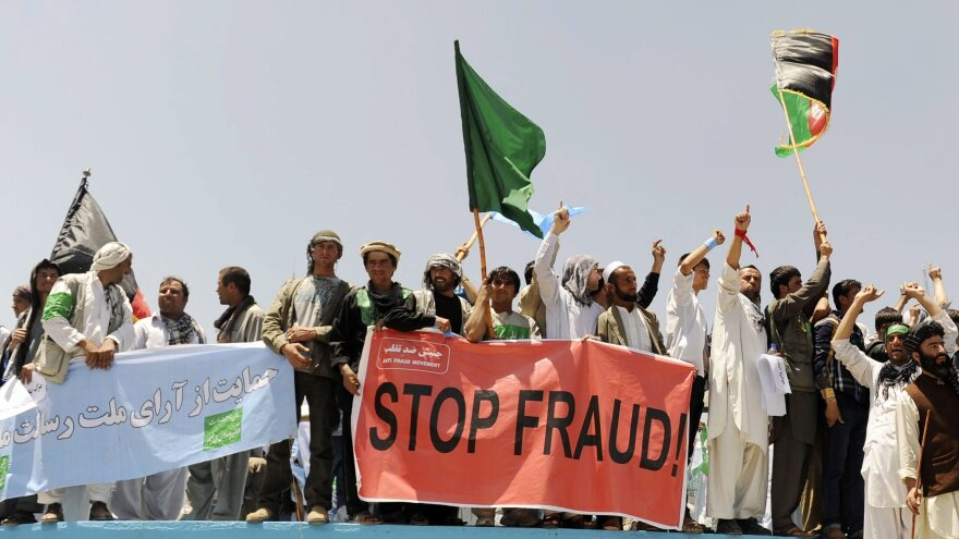 Supporters of Afghan presidential candidate Abdullah Abdullah rally Friday against alleged fraud in the presidential runoff election. Preliminary results were to be released Tuesday but have been delayed following Abdullah's accusations of widespread fraud.