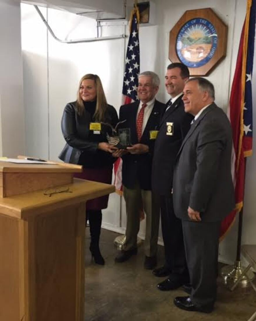State Senator, Shannon Jones, and State Rep. Ron Maag (center-left), joined ODRC Director, Gary Mohr (right) to honor Lebanon Correctional Facility Warden, Ernie Moore (cneter-right).