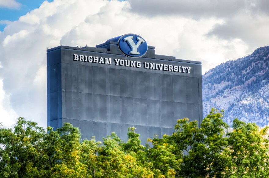 A photo of LaVell Edwards Stadium on campus of Brigham Young University.