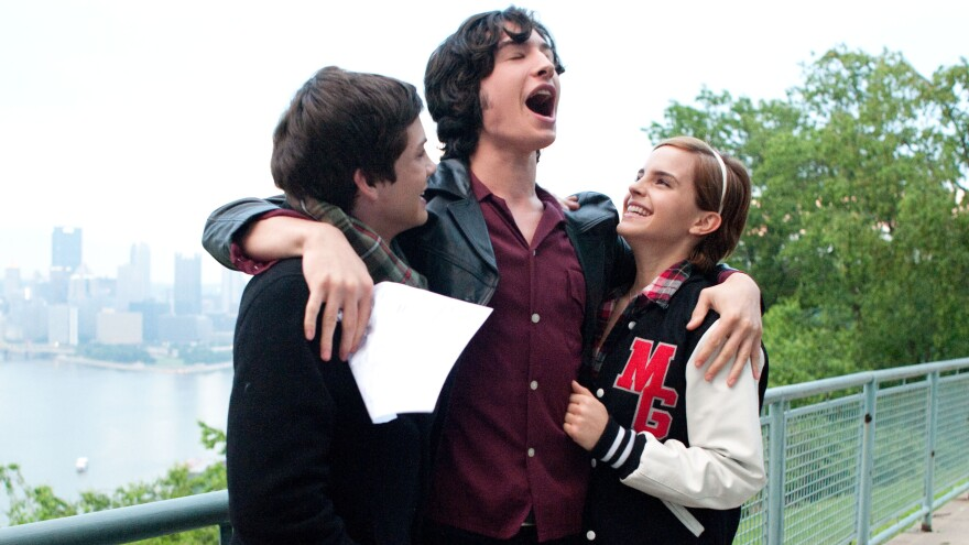 Charlie (Logan Lerman), Patrick (Ezra Miller) and Sam (Emma Watson) navigate the joys and pains of high school in <em>The Perks of Being a Wallflower</em>.