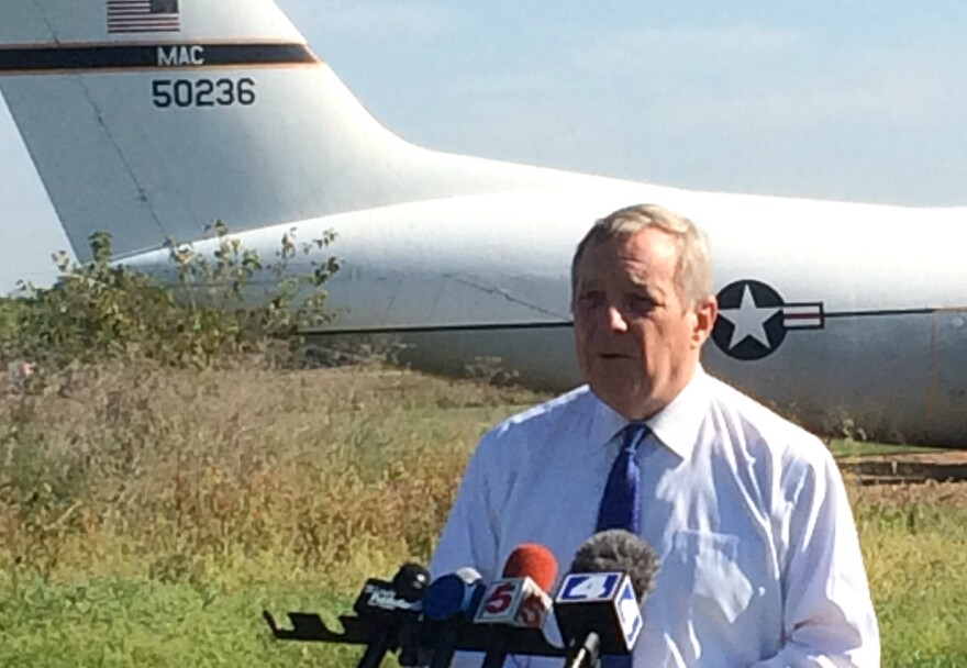 U.S. Sen. Dick Durbin visited Scott Air Force Base on Friday, Sept. 25, 2015 for a news conference warning about the economic impact of federal government shutdown.