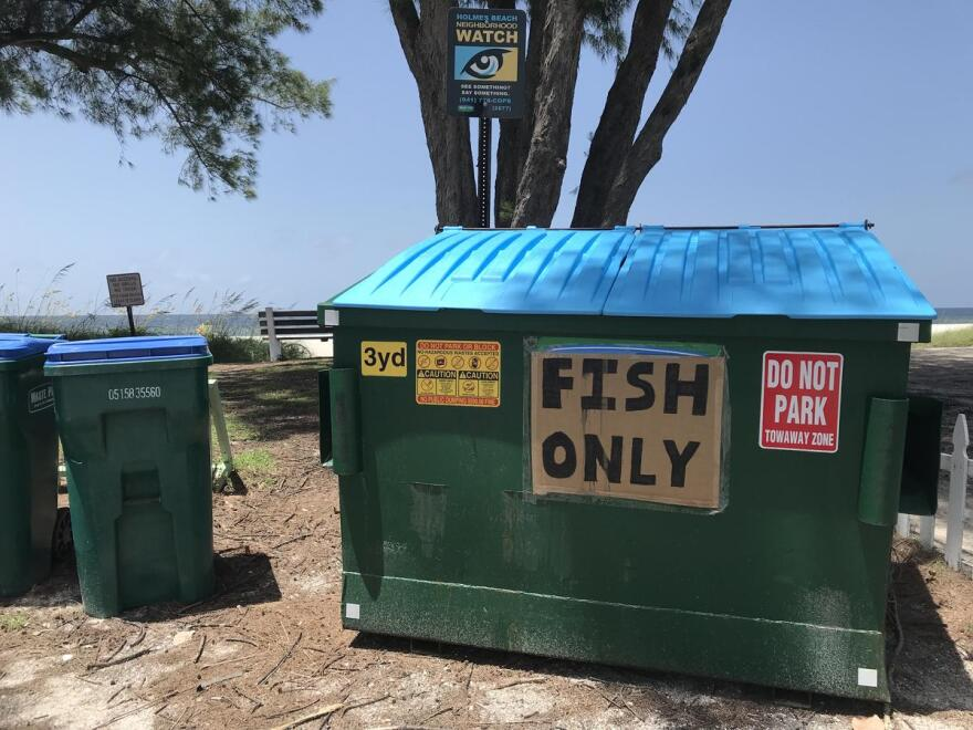 Government officials placed dumpsters throughout Anna Maria Island to fast-track the dead fish cleanup on the beaches.