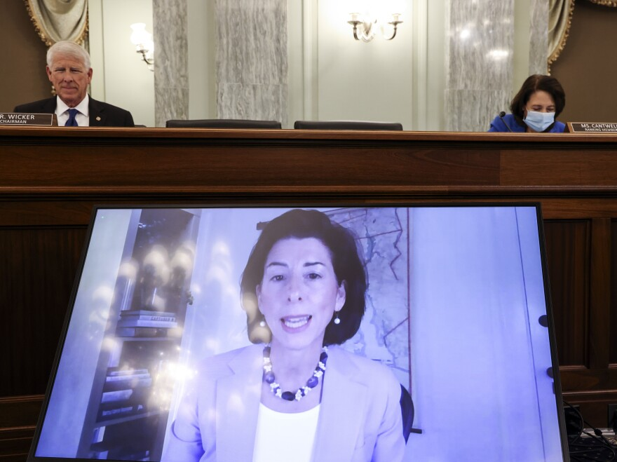 Rhode Island Gov. Gina Raimondo appeared through video conferencing Tuesday during a Senate hearing for her nomination as the next commerce secretary to oversee the Census Bureau.