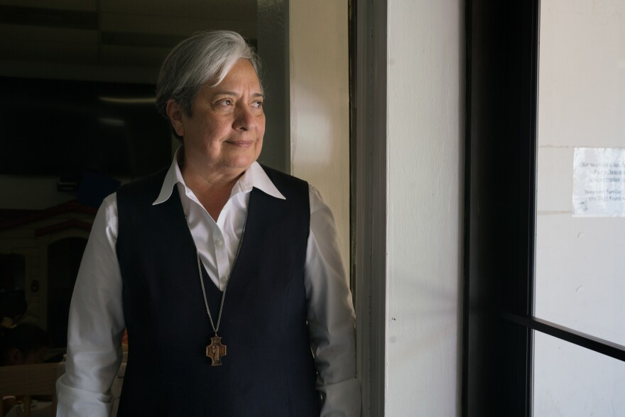 Sister Norma Pimentel runs the Humanitarian Respite Shelter in Brownsville. It's often the first stop for people released from immigration detention.