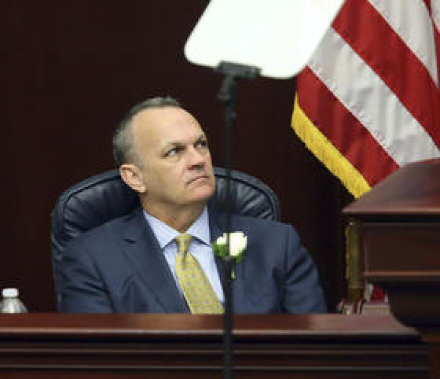 Florida House speaker Richard Corcoran, R- Land O'Lakes, listens to Gov. Rick Scott's state of the state address, Tuesday, March 7, 2017, in Tallahassee, Fla.
