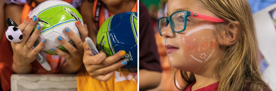 Left: Girls hold small soccer balls to get them signed by players after the game; Right: Layla Reese, 8, has a Houston Dash logo painted on her cheek.