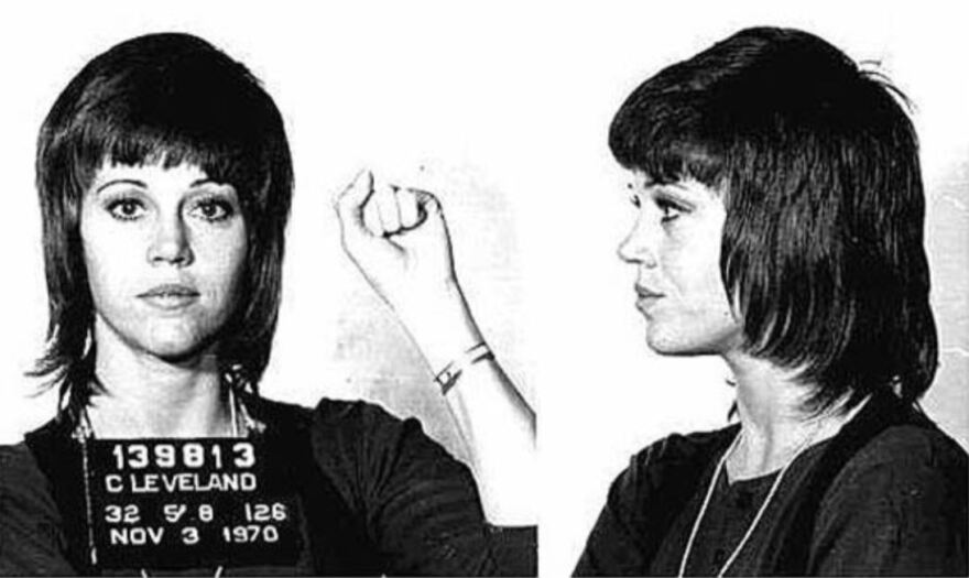 A mug shot photo from Cleveland of Jane Fonda at age 32