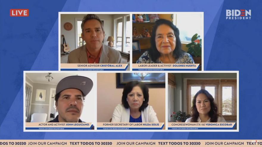 """A screen capture from a """"Todos con Biden"""" virtual event features Biden senior advisor Cristóbal Alex, labor activist Dolores Huerta, actor John Leguizamo, former Labor Secretary Hilda Solis and U.S. Rep. Veronica Escobar, D-Texas."""