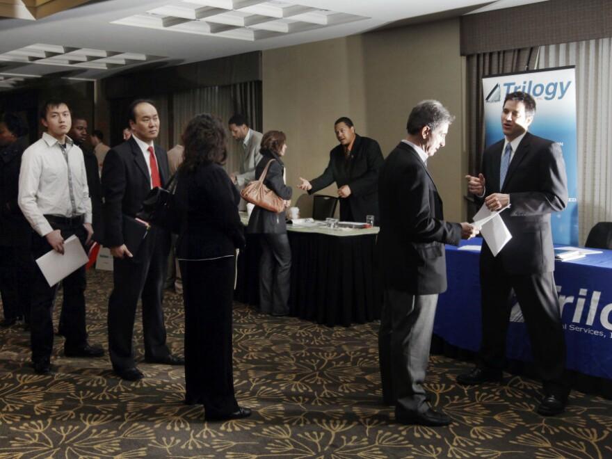 Job seekers in Boston in February, 2012.