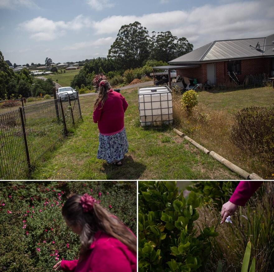 Stonehouse transplanted some of her beloved plants to the new property, situated at the top of a hill next to farmland. She says the roses grow well in the open sun.