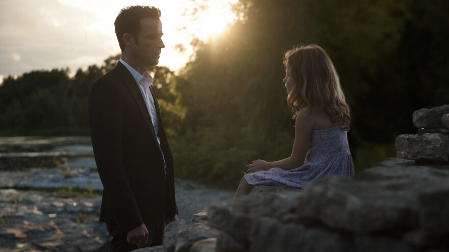 Justin Theroux (shown with Darby Camp) deals with the grief and mystery of being left behind in season 2 of the HBO series, <em>The Leftovers.</em>