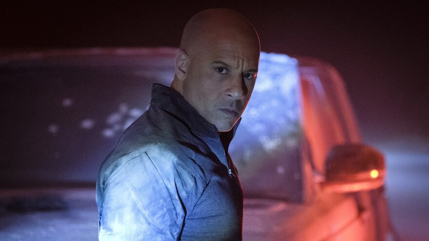 Bloodshot (Vin Diesel) looks vexed, or surprised or possibly dyspeptic, in <em>Bloodshot</em>.