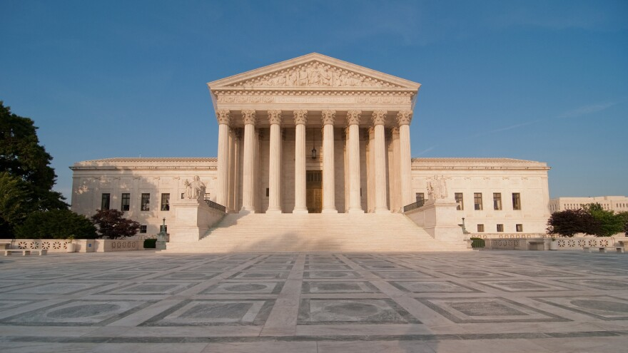 Front-facing shot of the U.S. Supreme Court building.