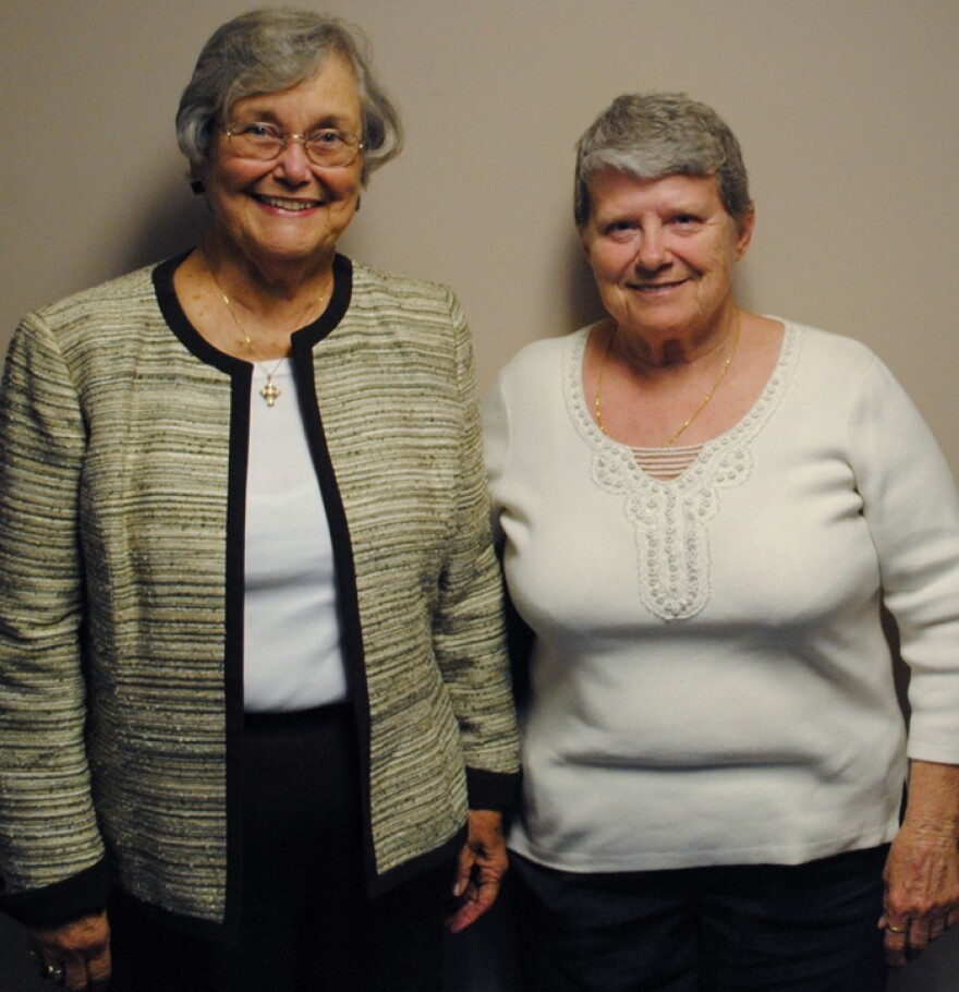Sally Edwards (left), 80, and Lue Hutchinson, 71, visited StoryCorps in Cincinnati. Their sons, Jack Edwards and Tom Butts, are buried at Arlington National Cemetery.