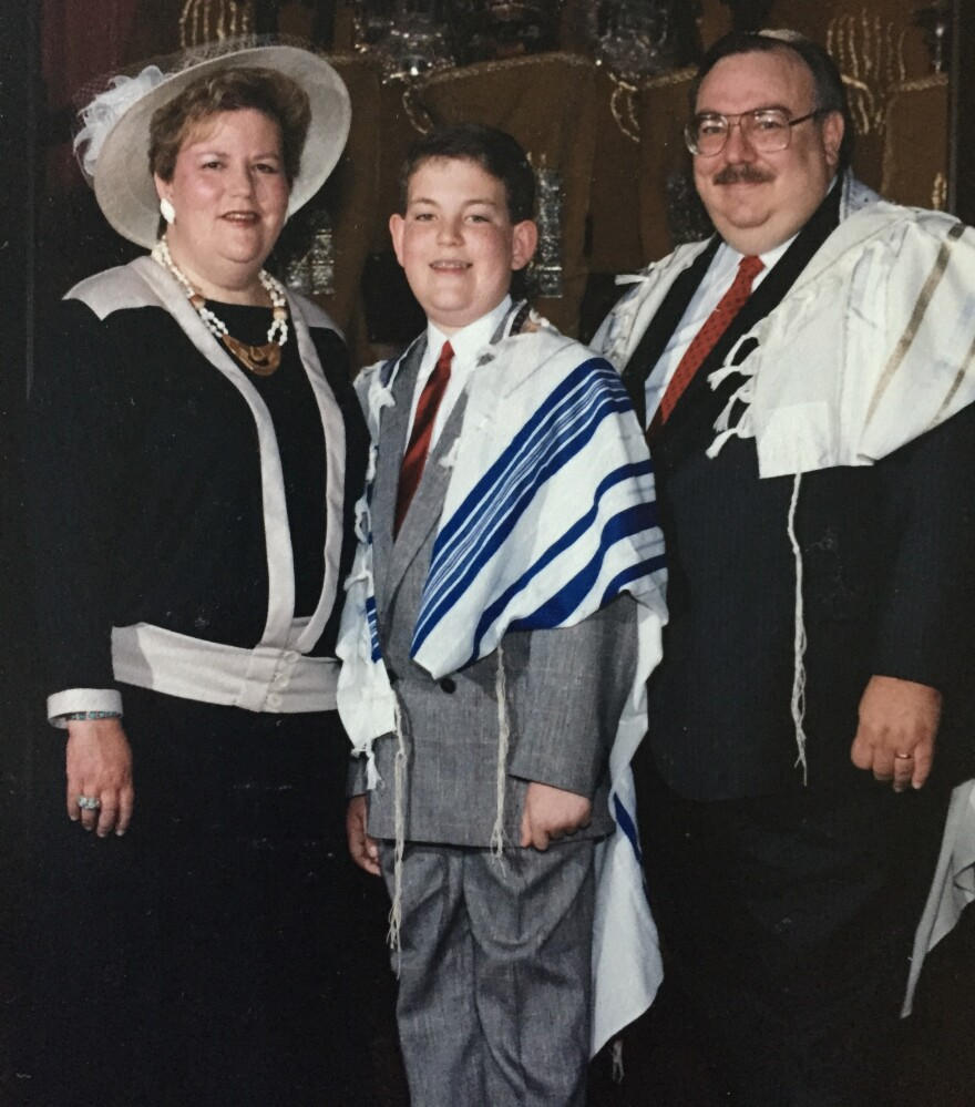Charles Ornstein with his parents at his Bar Mitzvah. Through their voice messages, saved on his phone, Ornstein has a trove of verbal memories.