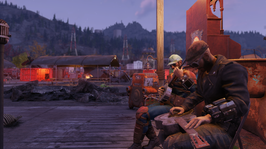 One of the photos featured in WVU's traveling exhibit, Appalachian Futures, featuring Nick Bowman's study on Fallout 76. The screenshot shows two players playing a banjo and a steel guitar in the video game.
