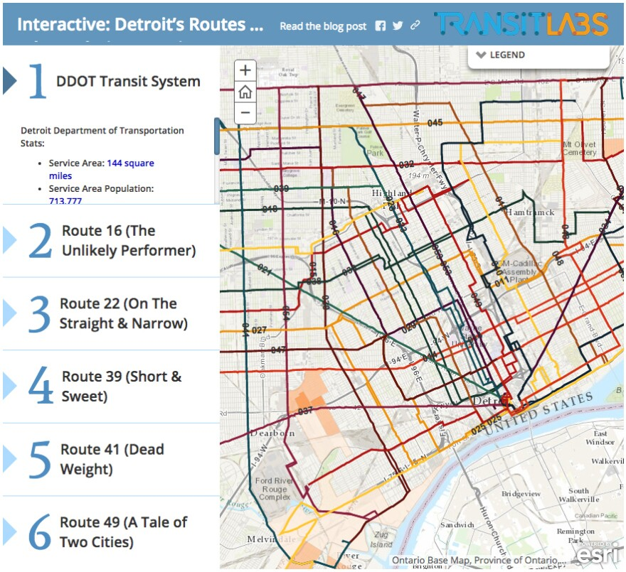 """Transit Labs produced an <a href=""""http://blog.transitlabs.com/part-ii-deeper-look-detroits-routes-population-density/"""">interactive graphic</a> for a deep look into Detroit's public transportation system."""