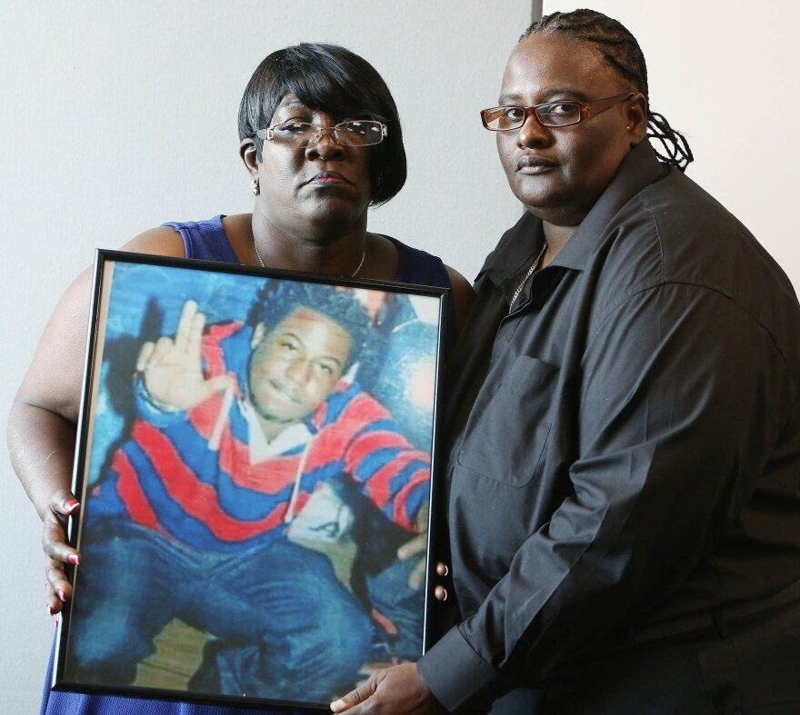 Catherine Daniels Brown (left) and Marsha Brown (right) son Lavall Hall was shot dead by police in Miami Gardens. The officers were trained in dealing with mentally ill people.