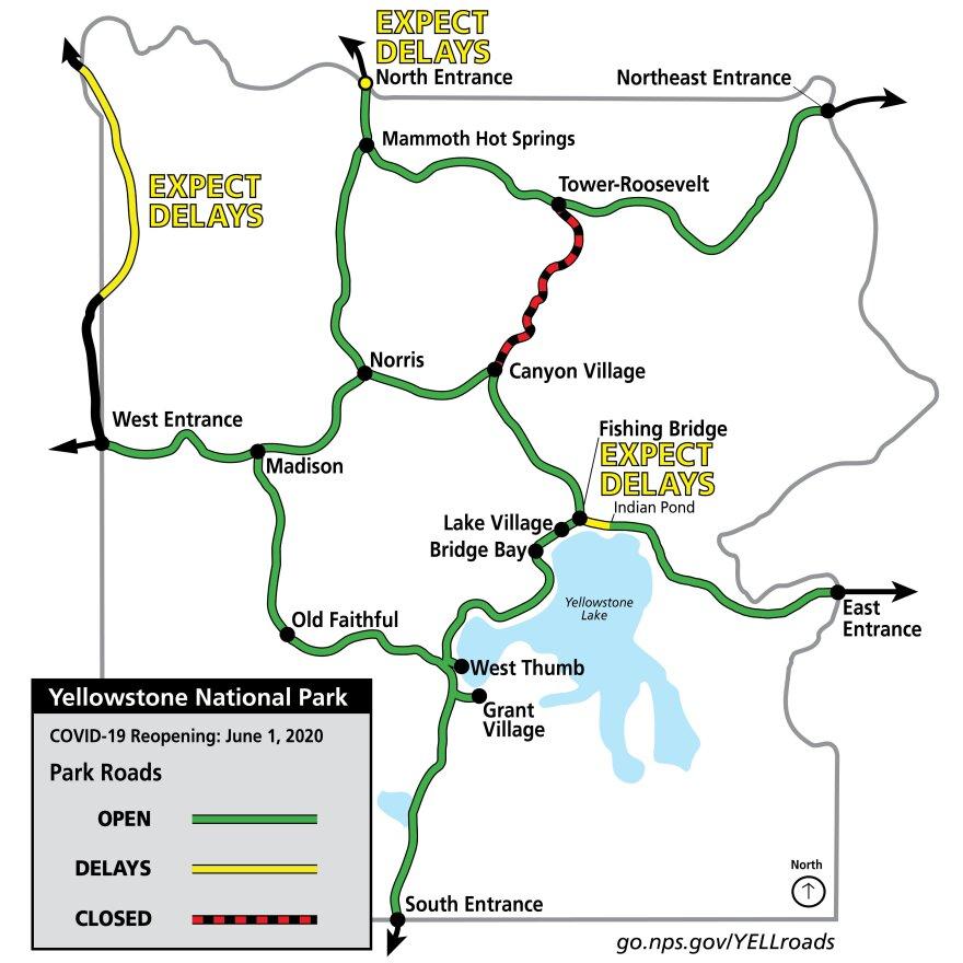 Yellowstone's Montana entrances open June 1, 2020.