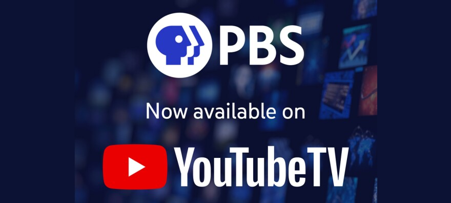 A graphic conveying the news that PBS content is now available on YouTube TV.