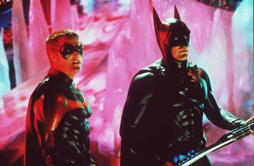 Batman and Robin have appeared on screen in many different forms over the years. Above, George Clooney as Batman and Chris O'Donnell as Robin in the 1997 film<em> Batman & Robin.</em>