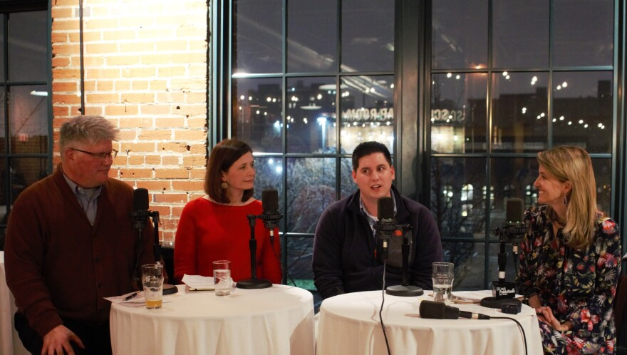 From left, Cameron Collins, Tracy Lauer, and Sean Rost joined Sarah Fenske for an evening of conversation at the Schlafly Tap Room.