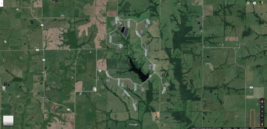 A Google Earth image of the Smithfield farm in northern Missouri where the first biogas projects went in.
