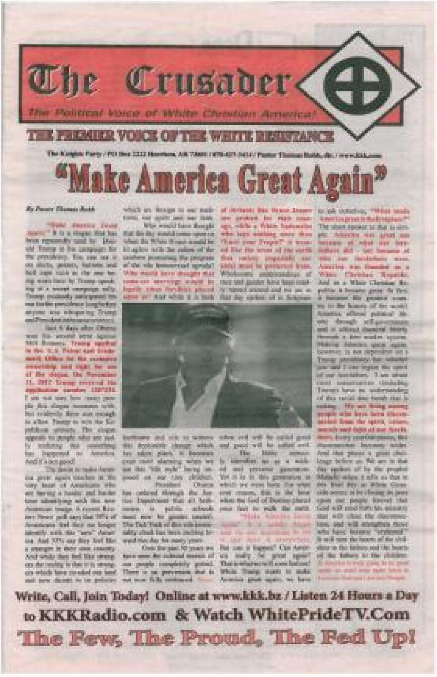 The Crusader, the newspaper of the Ku Klux Klan, endorsed Donald Trump just days before the election.