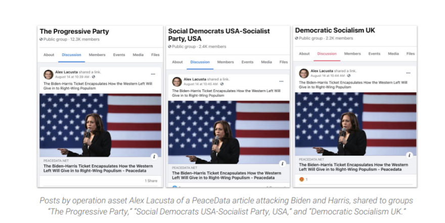 Examples of fake news stories shared on Facebook by a site posing as a news source, PeaceData, which the research firm Graphika says was part of a Kremlin-backed operation to steer voters away from the Biden-Harris campaign.