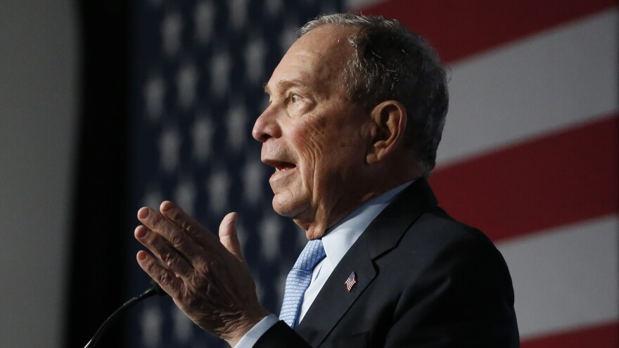 Democratic presidential candidate and former New York City Mayor Michael Bloomberg speaks during a campaign event, Thursday in Salt Lake City.