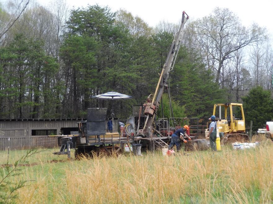 Contractors for Piedmont Lithium drill for core samples in a farm field in northern Gaston County.