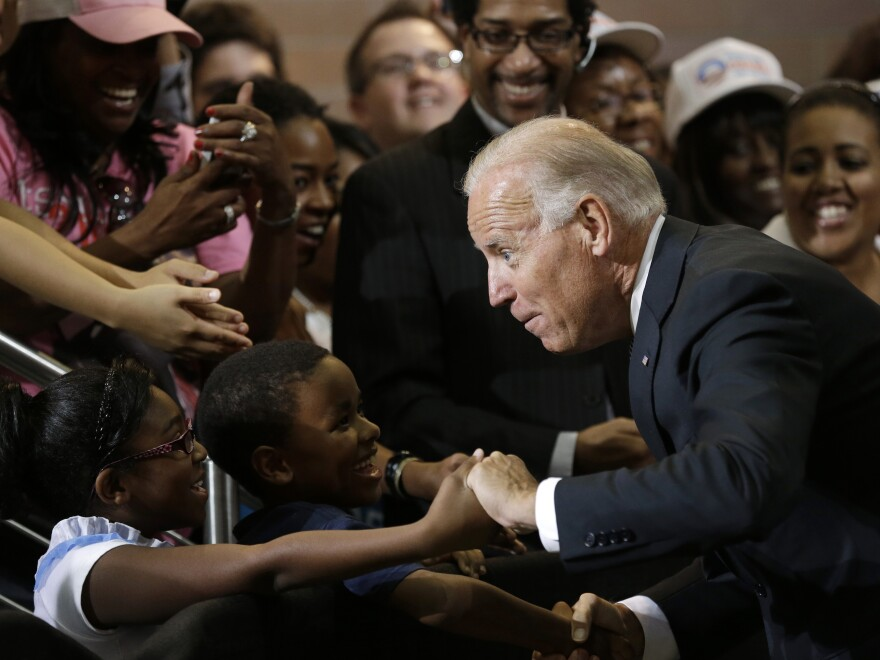 Vice President Biden greets kids during a campaign stop at Renaissance High School in Detroit in August 2012.