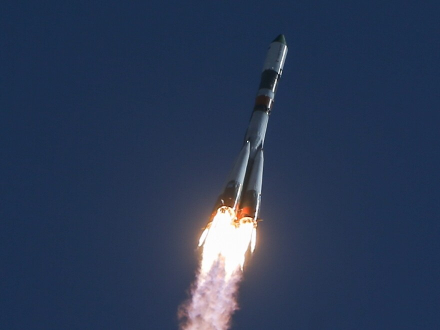The Soyuz-U space launch vehicle rocket carrying the Russian cargo ship Progress M-28M launched from the Baikonur Cosmodrome on Friday. The Progress resupply capsule successfully docked with the International Space Station on Sunday.