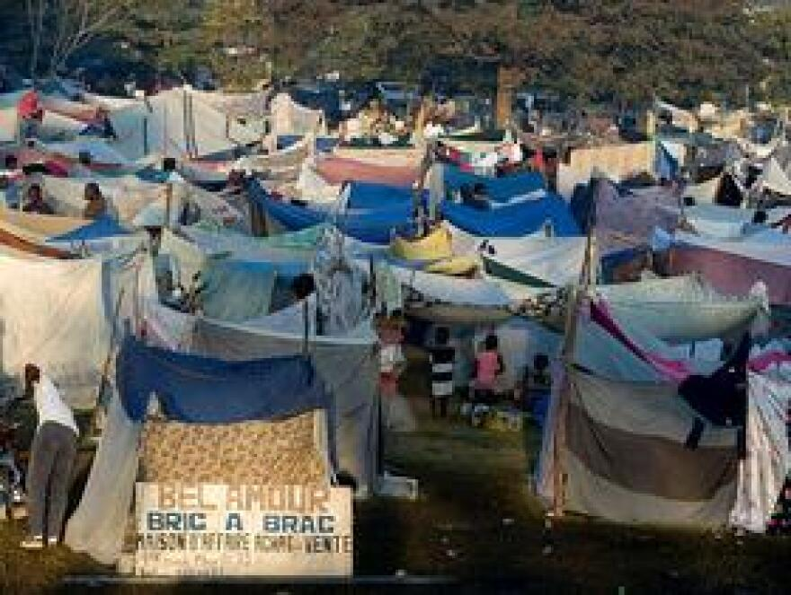 Hundreds of displaced Haitians live in makeshift homes outside Gheskio Field Hospital in Haiti.